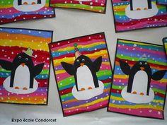 Pingouins sur fond couleur