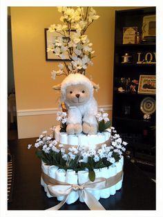 Baby Girl Sheep Theme Cake by Erica Leilous