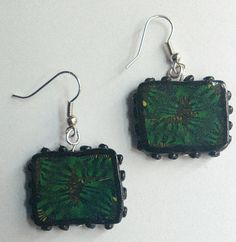 Items similar to Green Black Dangle Earrings Square Woodland Drop Earrings Wearable Art Costume Jewelry Spring Jewerly on Etsy Square Earrings, Dangle Earrings, Woodland, Dangles, Drop, Christmas Ornaments, Trending Outfits, Holiday Decor, Unique Jewelry