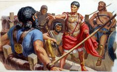 """""""First, when the pirates demanded a ransom of twenty talents, Caesar burst out laughing. They did not know, he said, who it was that they had captured, and he volunteered to pay fifty."""" ~ Plutarch -  illustration by Edward Mortelmans"""