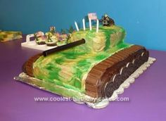 Homemade Camo Tank Birthday Cake: I got many of the ideas behind this from this website!  But put them together my way.   For my son's Camo Tank Birthday Cake I used a massive 15 x 12 x