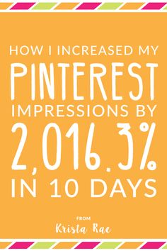 Pinterest has been one of those social media platforms that I used casually. Learn how I drastically increased my Pinterest Impressions in 10 days!
