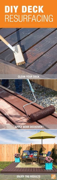 Revive your deck just in time for warm weather with help from our simple step-by-step DIY tutorial. Find out how to use BEHR All-in-One Wood Cleaner and DeckOver® in Dark Walnut to bring new life to your old wood or concrete surfaces. You can also use the BEHR paint calculator tool to determine the exact amount of paint needed for the project. Click through for the how-to on The Home Depot Blog.