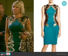 Nicole's teal green dress with gold embroidery on Days of our Lives.  Outfit Details: https://wornontv.net/55198/ #DaysofourLives