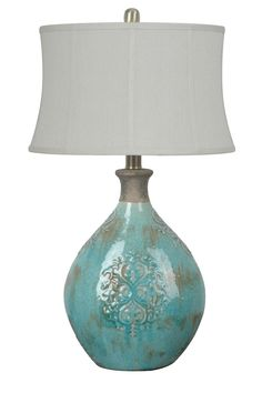 Crestview Linnet Table Lamp Ceramic Table Lamp In Azure Blue Finish Oval Shade White Fabric) Max Wattage Bulb Ht. Blue Glass Lamp, Blue Table Lamp, Ceramic Table Lamps, Ceramic Vase, Crestview Collection, House Of Turquoise, Farmhouse Lighting, Unique Lamps, Bedroom Lamps