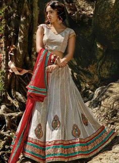 Cream Lace Border Stone Work Brocade Georgette Net Wedding Lehenga Choli  http://www.angelnx.com/featuredproduct