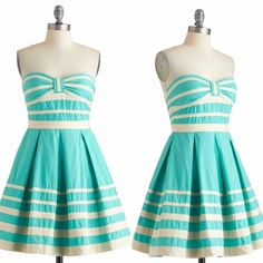 """Modcloth along these shorelines dress Adorable teal and cream striped strapless dress by minuet and sold by modcloth! Very """"new girl"""" Zooey Deschanel. Size small, full twirly skirt, flattering retro vintage shape. Only selling because it's slightly too small on me and I found a medium to replace it with  ModCloth Dresses Strapless"""