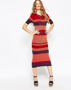 ASOS | ASOS Knitted Dress In Rib In Blocked Stripe at ASOS