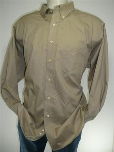 mens CHAPS shirt 2x Free Shipping button front LS Tan wrinkle free XXL 18 34/35 #Chaps #ButtonFront