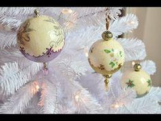 Gömbdísz repesztéssel és viaszpasztával // Christmas ornament with crackle and wax paste - YouTube