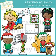 Letters to Santa clip art set contains 16 image files, which includes 8 color images and 8 black & white images in both png and jpg. All images are 300dpi for better  scaling and printing.