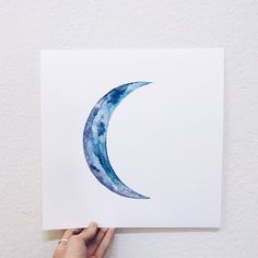 Crescent moon watercolor painting   Annie Livia