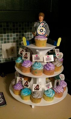 Justin Beiber (Bieber) cupcake stand tower cake for girls birthday party