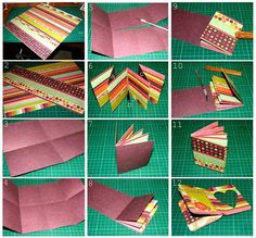 PaperVine: Baby Mini Album  Tutorial.     Uses one sheet of double sided 12x12 for 8 pictures