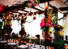 Multi-colored flowers, vines, candles and more!