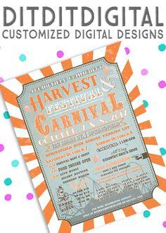 Vintage FALL CIRCUS CARNIVAL  Harvest Festival  Fall Fest