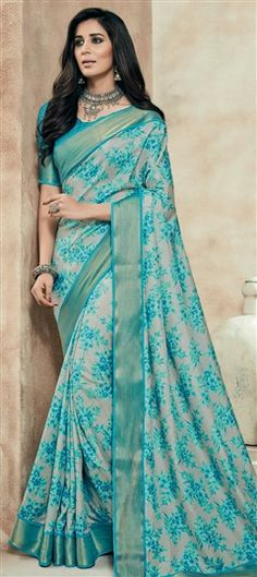 712030 Beige and Brown, Green color family Printed Sarees, Silk Sarees in Art Silk fabric with Lace, Printed work with matching unstitched blouse. Indian Silk Sarees, Art Silk Sarees, Shibori Sarees, Bandhani Saree, Fancy Sarees, Party Wear Sarees, Saree Designs Party Wear, Trendy Sarees, Hanfu