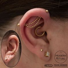 Beautiful unique industrial with gold jewelry by BVLA piercings, helix, forwardhelix, daith all gold.