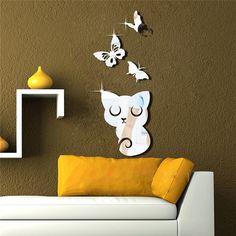 Cat and Butterfly Mirror Wall Decal Wall Sticker by EasyWallDecals