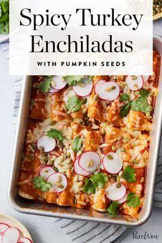 Spicy Turkey Enchiladas with Pumpkin Seeds via @PureWow