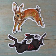 This is a set of two vinyl stickers of El-ahrairah and the Black Rabbit of Inlé, inspired by Watership Down. The stickers are weather resistant, printed on heavy duty vinyl with a strong adhesive backing. Rabbit Art, Rabbit Head, Watership Down, Rabbit Tattoos, Literary Tattoos, Fursuit, Spirit Animal, Graffiti, Art For Kids