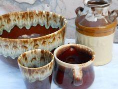 Pfaltzgraff McCoy Hull Brown drip ceramic by PerfectlyGoodStuff, $25.00