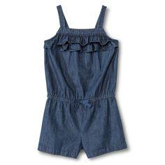 Toddler Girls' Ruffle Denim Romper - Blue