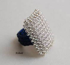 Elegant Dark Blue/Crystal Seed Bead Cocktail Ring Art by Szikati