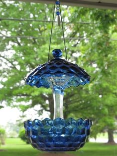 cobalt blue glass sugar bowl with lid and a glass candle stick ... instant bird feeder by petitedress
