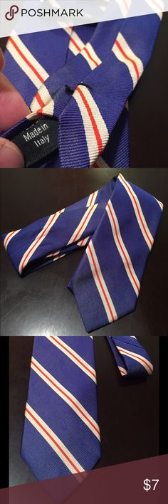 Men's Tie, J Crew Men's Tie, J Crew Blue w White n red strip Tie. Used & very well taken care of.  No trades please & thank you for your support- 😊 J Crew Accessories Ties