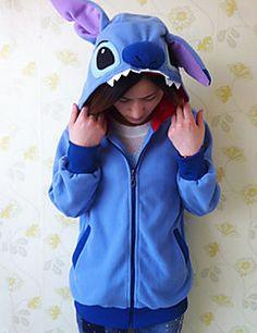 unisex polar fleece blauw steek kigurumi hoodie