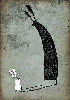 Me and my shadow. Kajsa & Emil by Asa Lucander Rabbit Illustration, Illustration Art, Allegory Of The Cave, White Rabbits, Rabbit Art, Bunny Art, Cute Art, Character Design, Graphic Design