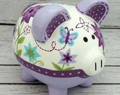 Personalized Piggy Bank Artisan hand painted by Alphadorable Pig Bank, Personalized Piggy Bank, Color Me Mine, Piggly Wiggly, Paint Your Own Pottery, Cute Piggies, Pottery Studio, Paper Clay, Pottery Painting