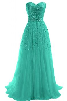 Sunvary Woman A-line Strapless Sweetheart Sequins Tulle Holiday Evening Dresses…