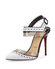 Chouette+Pinked-Edge+Red+Sole+Pump,+White+by+Christian+Louboutin+at+Neiman+Marcus.