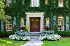 vines, boxwood, plants....traditional entry by Sudbury Design Group