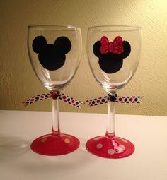 Custom HandPainted Disney Wine Glasses by SnarfblatsInc on Etsy, $12.95