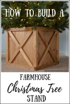 How To Build Farmhouse Christmas Tree Stand DIY Farmhouse Christmas Tree Box/Stand Farmhouse Christmas Tree Stands, Christmas Tree Stand Diy, Wood Christmas Tree, Farmhouse Christmas Decor, White Christmas, Christmas Diy, Christmas Tree Farms, Christmas Projects, Tree Collar Christmas