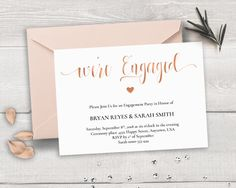 Printable Engagement Invitation Template, We\'re Engaged, Calligraphy ...