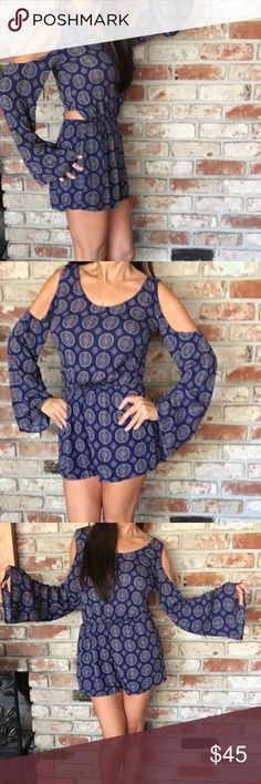 Miranda Blue & White Romper Sexy romper with open shoulders, tie open back and lined bottom half.  Sassy for a date with heels or comfy with flip flops! Trust me, you will look amazing! Miranda Shorts