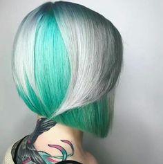 Gorgeous teal and platinum hair #hair #bright