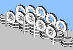Stairway to Michelin. This is a great way to connect two elements that are lower to the ground (a low platform, balance beams, etc.) Design by Playground Ideas. Create a free user account at www.playgroundideas.org to view full element description and step-by-step DIY instructions.