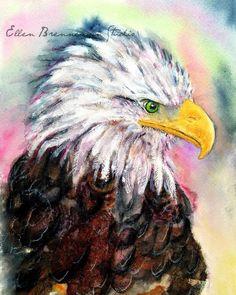 Bald Eagle art print - eagle art, bald eagle artwork, eagle wall decor, bald eagle painting, bird art by EllenBrennemanStudio on Etsy https://www.etsy.com/listing/199727143/bald-eagle-art-print-eagle-art-bald