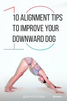 10 Alignment Tips To Improve Your Downward Dog #yoga #fitness #health #yogaforbeginners Bikram Yoga, Ashtanga Yoga, Yin Yoga, Yoga Nature, Restorative Yoga Poses, Hard Yoga, Different Types Of Yoga, Downward Dog, Yoga Exercises