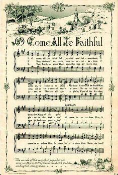 Beautiful O Come All Ye Faithful sheet music. Lyrics and Video at #LearnYourChristmasCarols http://www.learnyourchristmascarols.com/2009/12/rain-rain-its-wet-and-cold-and-i-would.html #ChristmasMusic