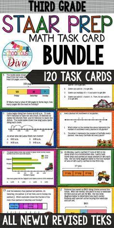 3rd Grade STAAR Math Task Cards - Covers ALL Newly Revised TEKS standards $