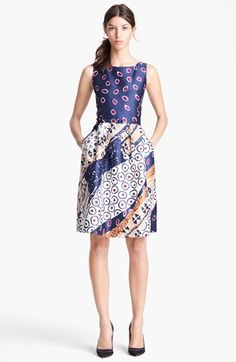 Oscar de la Renta Belted Print Dress , made in Italy of silk-wool, available at #Nordstrom