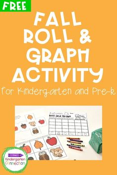 Bring on the changing leaves and cooler weather because fall is on its way! This Fall Roll and Graph Math Activity is the perfect addition to your Preschool and Kindergarten math centers curriculum this time of year! Practicing early graphing skills has never been more fun! Helps children strengthen their fine motor muscles while coloring! #learningactivities #prek #preschool #kindergarten #fallpreschoolactivities #fallkindergartenactivities #finemotorskills