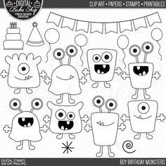 Imágenes Prediseñadas - muchacho cumpleaños monstruos digitales sellos los extranjeros monstruos sellos cumpleaños clip arte digital