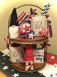 Fourth Of July Decor, 4th Of July Decorations, Holiday Decorations, July Holidays, Tier Tray, Let Freedom Ring, Tray Decor, Summer Ideas, Red White Blue